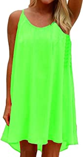 42dfe063498 Amstt Women s Summer Sexy Vibrant Color Chiffon Dress Bathing Suit Cover Ups