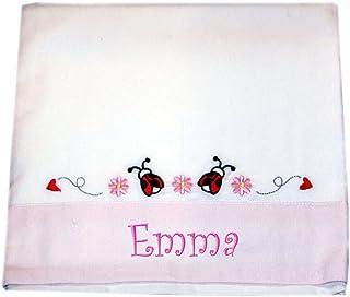 """ZIGOZAGO - Set per culla o lettino """"COCCINELLE"""" in piquet di cotone in 3 pezzi con nome personalizzato. Bordo ROSA. Federa..."""