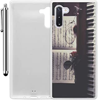 Custom Case Compatible with Galaxy Note 10 (Sheet Music Roses Wine and Piano) Edge-to-Edge Rubber White Cover Ultra Slim | Lightweight | Includes Stylus Pen by Innosub