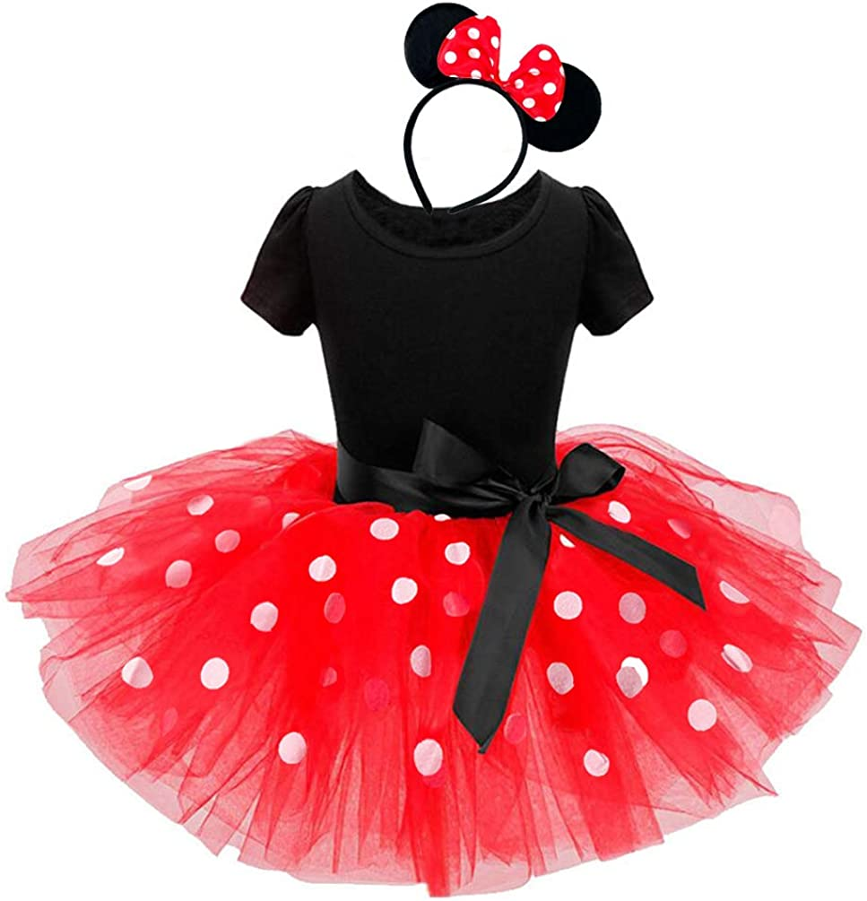 Marosoniy Toddler Girl Mini Mouse Tutu Dress Cosplay Costume Polka Dots Party Fancy Dress up Dance Leotard with Headband