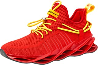 AUCDK Men Breathable Trainers Lace Up Mesh Fabric Running Shoes Casual Sneakers for Exercise Fitness