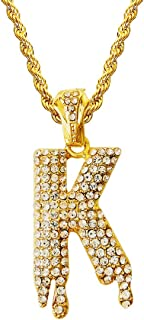 Hip Hop Iced Out Bling Crystal Diamond Bubble Dripping Initial Letters A to Z Rope Chains 20 Inch
