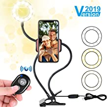 Selfie Light Ring with Cell Phone Holder Stand for Live Stream/Makeup, Flowmist LED Ring Light [3-Light Mode] [10-Level Brightness] with Flexible Arms, for iPhone/Android