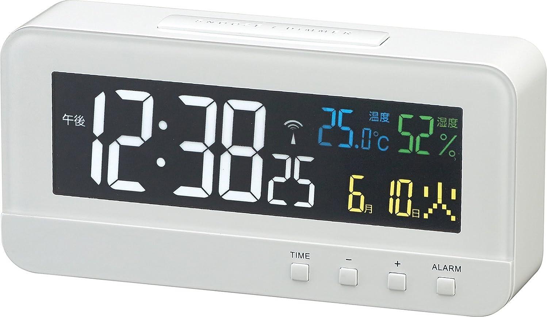 摩擦試用交換MAG(マグ) 目覚まし時計 電波 デジタル カラーハーブ 温度 湿度 カレンダー表示 ホワイト T-684WH