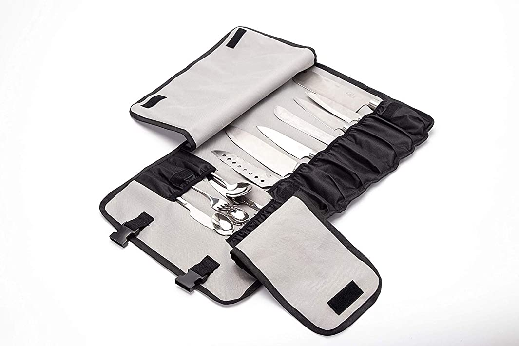 Chef's Knife Roll Case With 13 Slots Can Holds 7 Knives,6 Meat Cleaver And Utility Pockets. Durable Knife Carrier, Portable Business Knife Holder Protectors With Handle, Shoulder Strap (HGJ60-A)