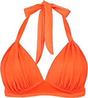 Women's Retro 50s Plaid Pattern Polka Dot Halter Molded Soft Pads Vintage Bikini Swimsuits Tops
