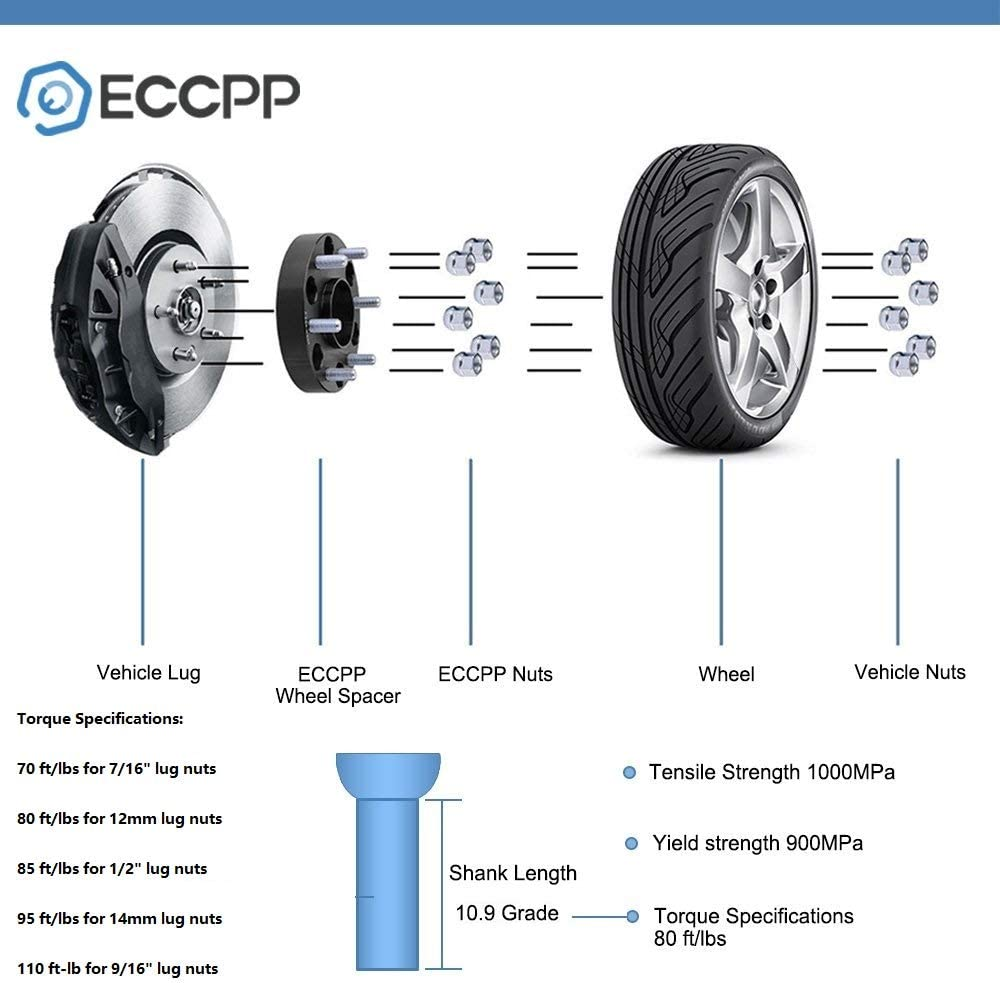 ECCPP 5 Lug Wheel Spacers 2X 2.5 5x4.75 to 5x4.75 W//O Lip 12x1.5 fits for S10 Blazer Corvette for Cadillac Eldorado