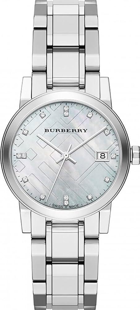 Burberry,orologio di lusso con diamanti da donna ,in acciaio inox BU9125