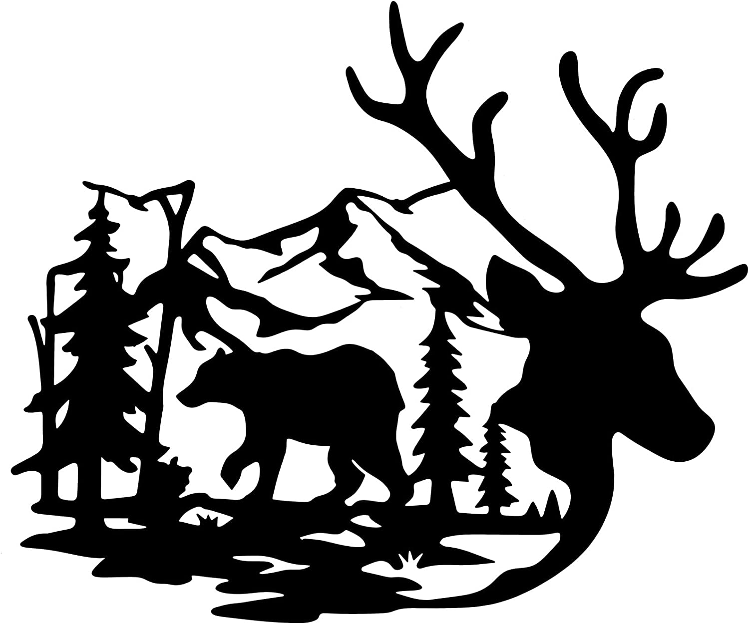 Deer Bear in the Forest Pine Tree Wall Decor Deer Bear Metal Hanging Wall Art for Living Room Bedroom Office Kitchen Decorations, 10 x 8.6 Inch