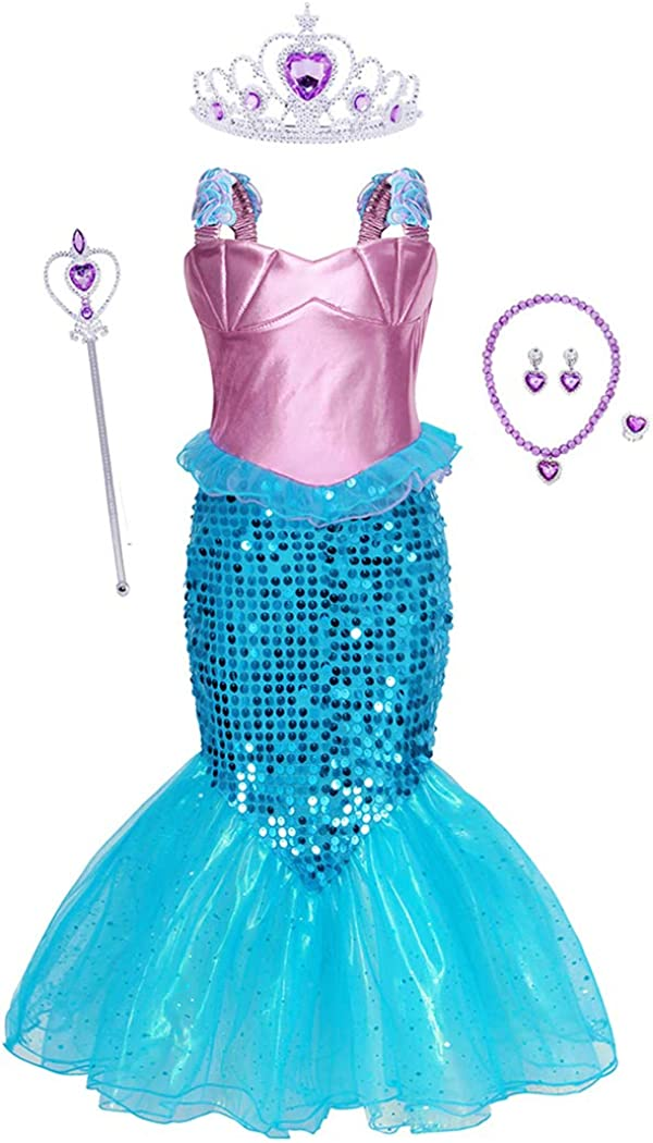 WonderBabe Princess Mermaid Costume for Girls Birthday Party Dress Up Halloween Cosplay Sequins Clothes Outfits