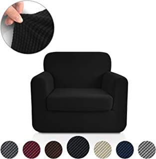 Rose Home Fashion Jacquard Stretch 2 Separate Pieces Chair Cover, Chair Slipcover with Separate Cushion Cover Couch-Polyester Spandex Sofa Slipcover&Couch Cover for Dogs(Chair: Black)
