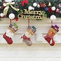 Jinbs クリスマスソックス 3枚セット ブーツ 靴下 クリスマスツリー 飾り プレゼント パーティー ギフト袋 お菓子入り キャンディー サンタさん 雪だるま エルク 19*12.5CM