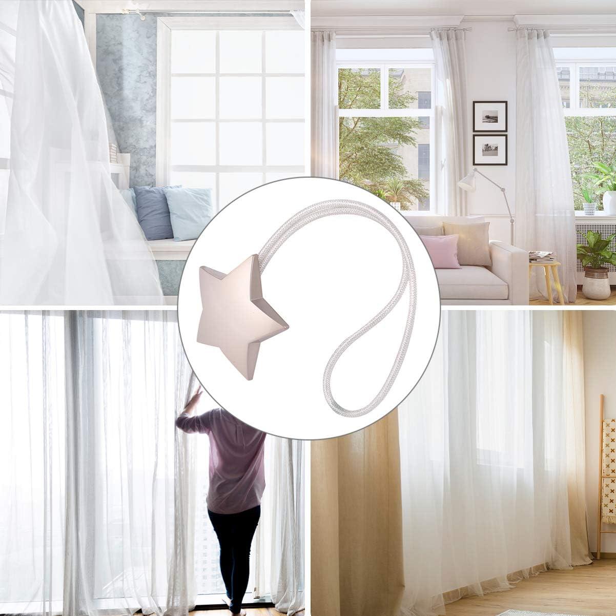 VOSAREA Star Magnetic Curtain Holdback Window Curtain Tiebacks Clips Decorative Curtain Buckle Drapery Holder for Home Balcony Decor Green