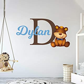 """e-Graphic Design Inc Custom Name & Initial Bear Animal Series - Nursery Wall Decal for Baby Room Decorations - Mural Wall Decal Sticker for Home Children`s Bedroom (MM79) (Wide 42"""" x 22"""" Height)"""