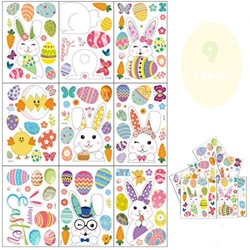 IEhotti Idea 135 Pieces Easter Stickers, Window Cling Bunny Flowers Plaid Check Rabbit Eggs Wall Stickers, Removable PVC Decals for Easter Party Home Kitchen Office Decorations, 9 Sheets