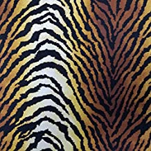 Off White with Brown Printed Tiger Pattern on Poly Spandex Double Sided Brushed Stretch Knit Fabric
