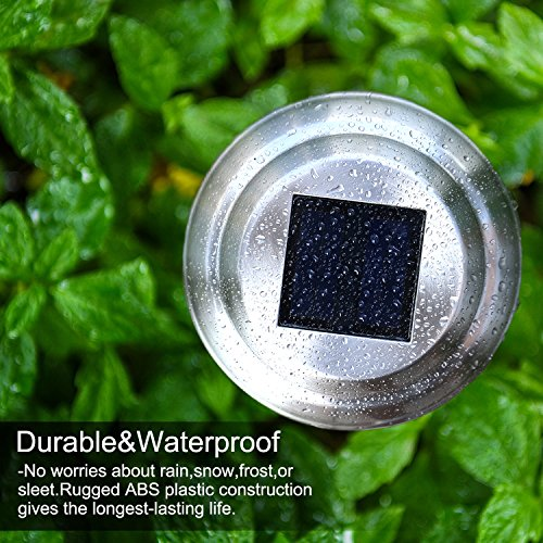 Voona Solar LED Outdoor Lights 8-Pack Stainless Steel Pathway Landscape Lights for Outdoor Path Patio Yard Deck Driveway and Garden , (Silver)
