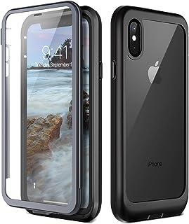 731935b53f1 Prologfer Funda para iPhone XS 360 Grados Transparente Carcasa Resistente  con Protector de Pantalla incorporada Prueba