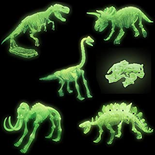 5 Pack - 3D Glowing Dinosaur Fossil Puzzles - Glow in The Dark Dino Skeleton Model Toys - Kids Archaeology Kits Party Favors (10-Inches)