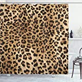 Ambesonne Leopard Print Shower Curtain, Skin Pattern of a Wild Safari Animal Powerful Panthera Big Cat, Cloth Fabric Bathroom Decor Set with Hooks, 70' Long, Brown Beige