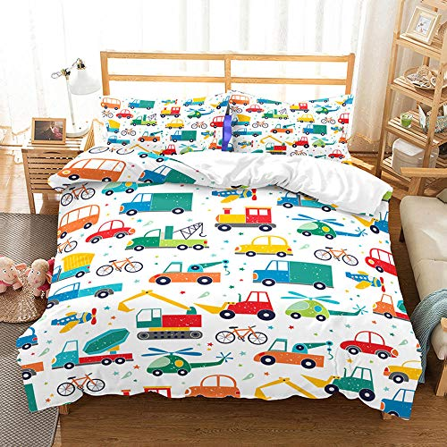 Fadaseo Cotbed Duvet Cover Set Double 3D Printing Cute Cartoon Hand Drawn Car 3 Pieces Bedding Set. Easy Care And Super Soft Cotton Design.With 2 Pillowcases Hypoallergenic. Size 200 X 200 Cm