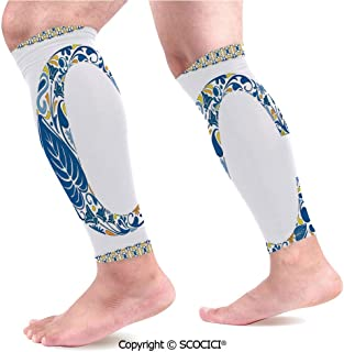 Flexible Breathable Comfortable Leg Skin Protector Sleeve Portuguese Culture Inspired Natural Elements in Letter C Alphabet Print Decorative Calf Compression Sleeve