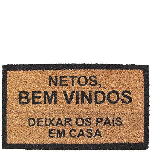 Laroom Felpudo diseño Netos Bemvindos, Jute & Base Antideslizante, Marrón, 40x70x1.8 cm