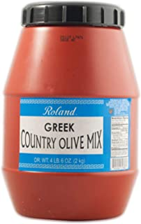 Roland Foods Greek Country Olive Mix, Whole Olives Marinated with Garlic and Pepperoncini Peppers, Specialty Imported Food...