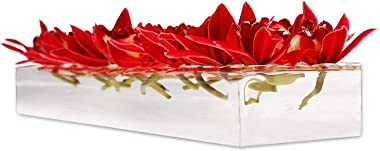 Rectangular Floral Centerpiece for Dining Table - 24 Inches Long Rectangular Vase - Acrylic Modern Vase - Flower Vases Center