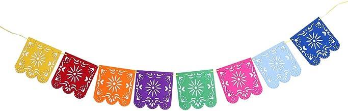 VOSAREA Papel Picado Banner Square Fieltro Vibrante Multicolor Paneles de Flores Papel de Seda para la Fiesta de Bodas de cumpleaños