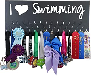 RunningontheWall Swimming Medals Ribbons Display Kids, Swimming Gifts for Teens I Love Swimming Swimmer Gifts, Swimming Award Display