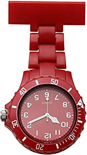 LinTimes Women's Girls' Fashion Nurse Watch Silicone Jelly Clip-on Fob Brooch Lapel Hanging Pocket Watch, Red