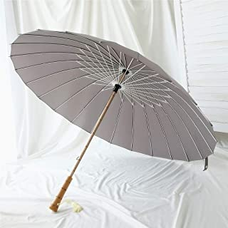 Retro Household Umbrella Chinese Style Wooden Umbrella Rain and Rain Umbrella Umbrella Five Colors Optional DWWSP (Color : Gray)