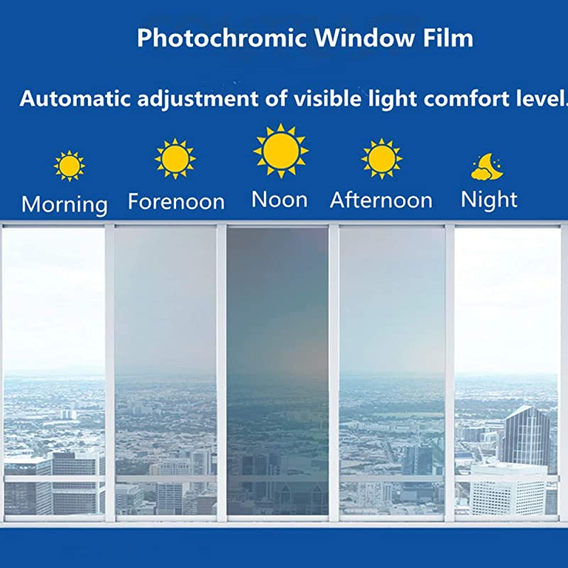 HOHOFILM 70 X20 Photochromic Window Film VLT 43 73 Color Changing Window Tint Sunlight Control Heat Rejection Anti UV For Home Buildings