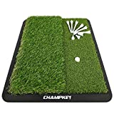 Champkey Dual-Turf Golf Hitting Mat(9 Golf Tees & 1 Rubber Tee Included) - Heavy Duty Rubber Backing Golf Practice Mat Ideal for Indoor & Outdoor( 1.5' 2.2',Green)