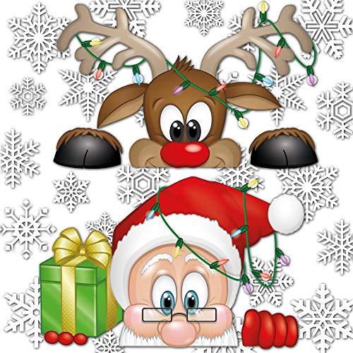 Articlings Peeping Père Noël et Rudolph fenêtre s'accroche – avec 28 Flocons de Neige – Fabulous Décorations de Noël