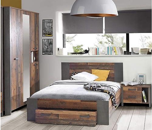 expendio Jugendzimmer Cedric 67 Vintage braun 3-teilig Schlafzimmer Bett 140x200 mit Schubkasten Nachttisch Kleiderschrank
