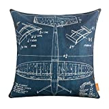 LINKWELL 18'x18' Shabby Chic Blue Plane Airplane Design Draft Drawings Burlap Cushion Covers Pillow Case (CC1150)