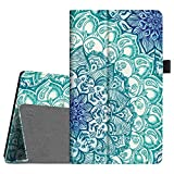 Fintie Folio Case for Amazon Fire HD 8 Tablet (7th/8th Generation, 2017/2018 Release) - Slim Fit Premium Vegan Leather Standing Protective Cover, Emerald Illusions