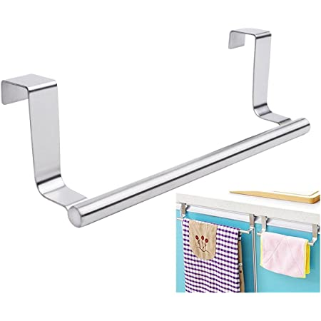 Mziart Modern Towel Bar with Hooks for Bathroom and Kitchen, Brushed Stainless Steel Towel Hanger Over Cabinet (9 inch)