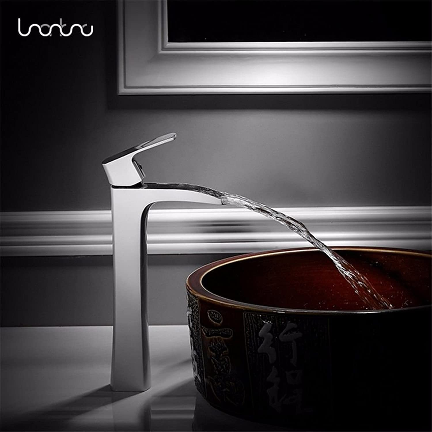 Fbict Nordic Hot and Cold Basin Full Copper Faucet Single Hole Single Table Above Counter Basin Basin White Faucet Simple for Kitchen Bathroom Faucet Bid Tap
