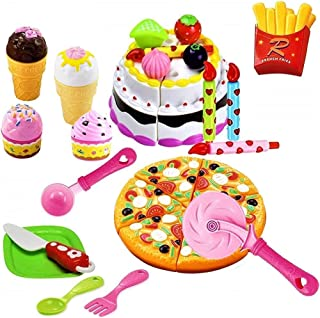 FUNERICA Pretend Cutting Play Food Kids Toy Set with Cutting Pizza, Ice Cream, Fries, Dessert, Storage Box & Toy Birthday Cake for Boys & Girls Party Celebrations, for Toddlers Learning