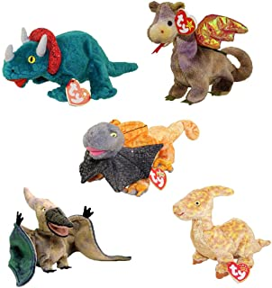 TY Beanie Babies - DINOSAURS & DRAGONS (Set of 5) (Hornsly, Scorch, Slayer, Swoop, Tooter) (6-9.5 in)