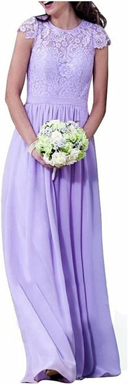 AK Beauty Women's Short Sleeve Lace Prom Gown ALine Long Bridesmaid Dresses