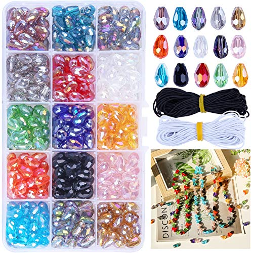 Dushi 8 x 12mm DIY Teardrop Crystal Beads Glass Beads Kits 300 pcs AB Colour Faceted Beads Set for Jewelry Making Center Drilled with Elastic Cord Storage Box