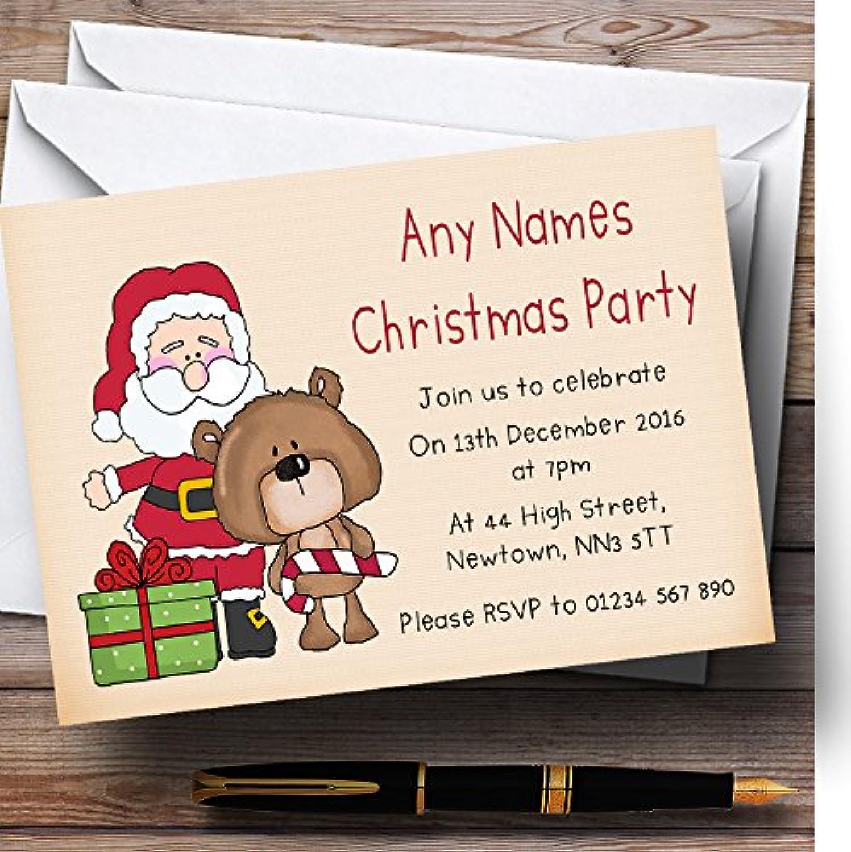 Cute Santa & Bear Personalised Christmas Party Invitations