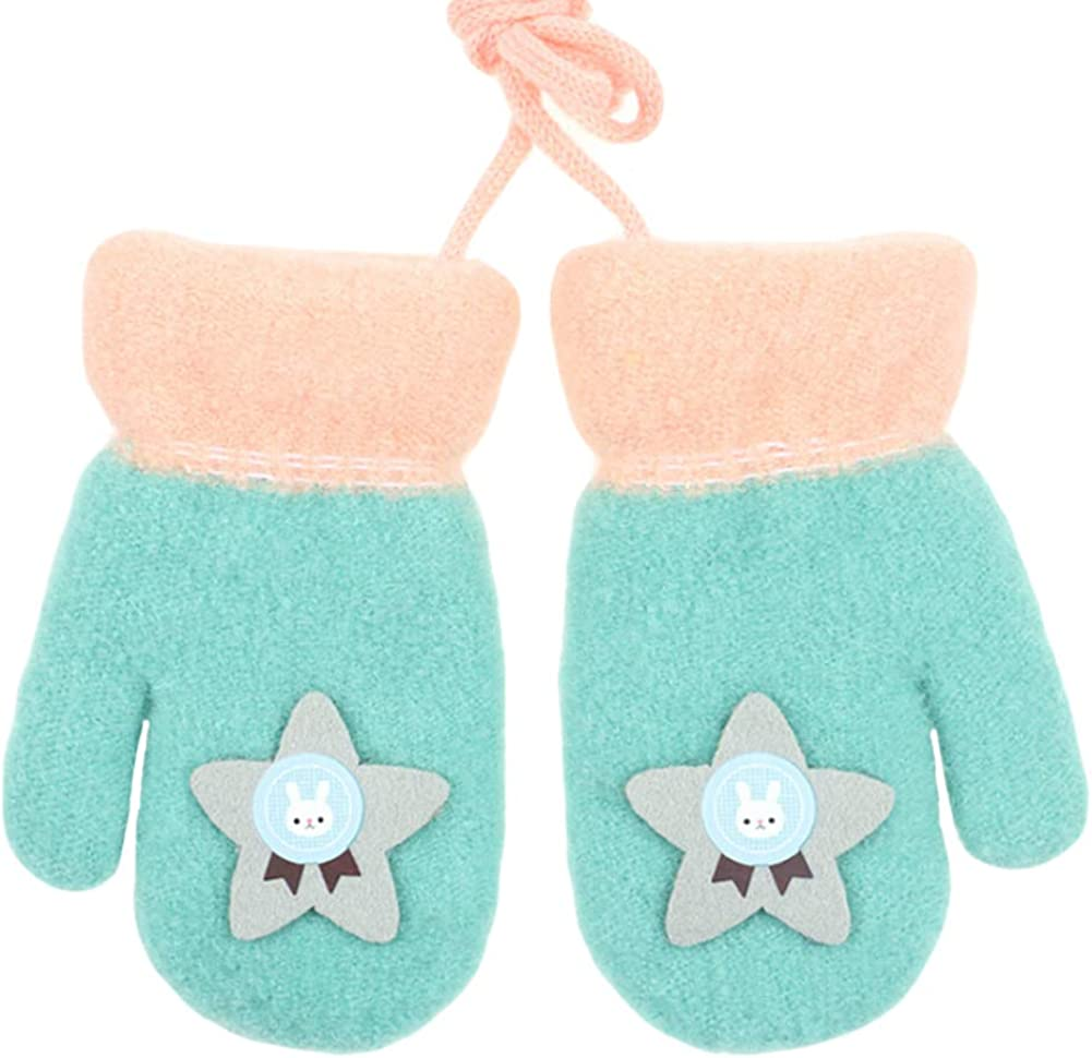 CHUANGLI Kids Winter Warm Knit Mittens with String Thick Sherpa Lined Mittens Boys Girls Winter Gloves