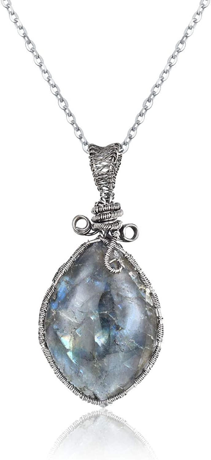 Bigbabybig Natural Labradorite Spectrolite Necklace Crystals Pendant for Women Men Jade Irregular Wrapped Positive Clear Crystal Quartz Family Tree Gemstone with Stainless Steel Chain 24
