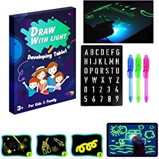 Light Drawing - Fun and Developing Toy, Doodle Board Toy, Draw with Light in Darkness Child Painting Board Educational Toy (A3)