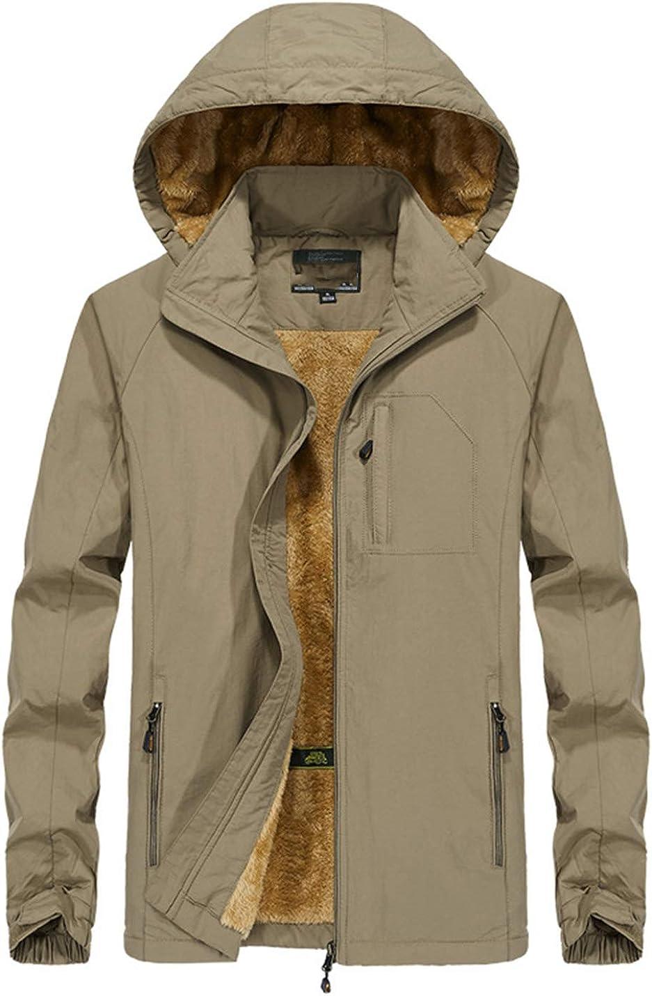 PAODIKUAI Men Mountain Waterproof Ski Jacket Coat Warm Fleece Hood Thicken Jacket Coat